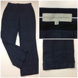 STELLA McCARTNEY Silk & Linen Cuff Hem Dress Pants